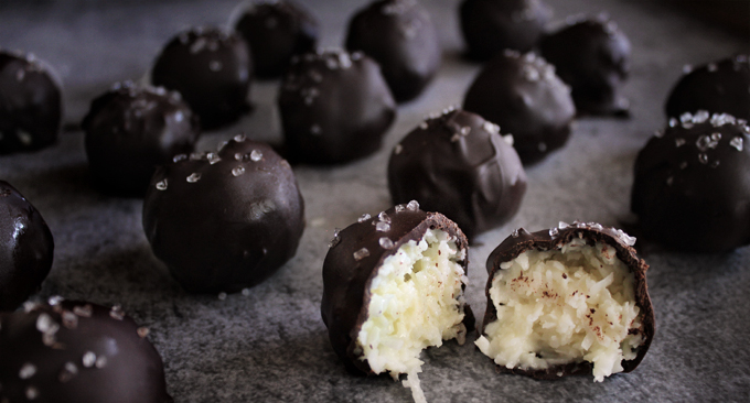 Chocolate Covered Coconut Balls With Condensed Milk
