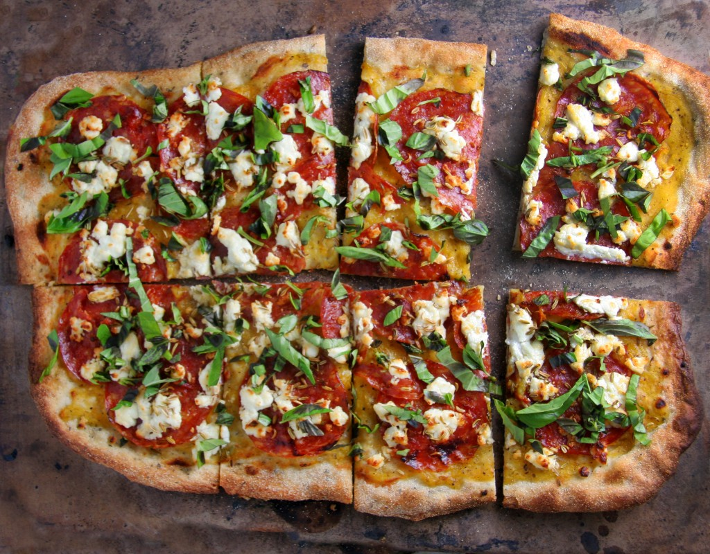 ... Goat Cheese Pizza with Yellow Tomato Sauce, Fennel Seeds & Fresh Basil