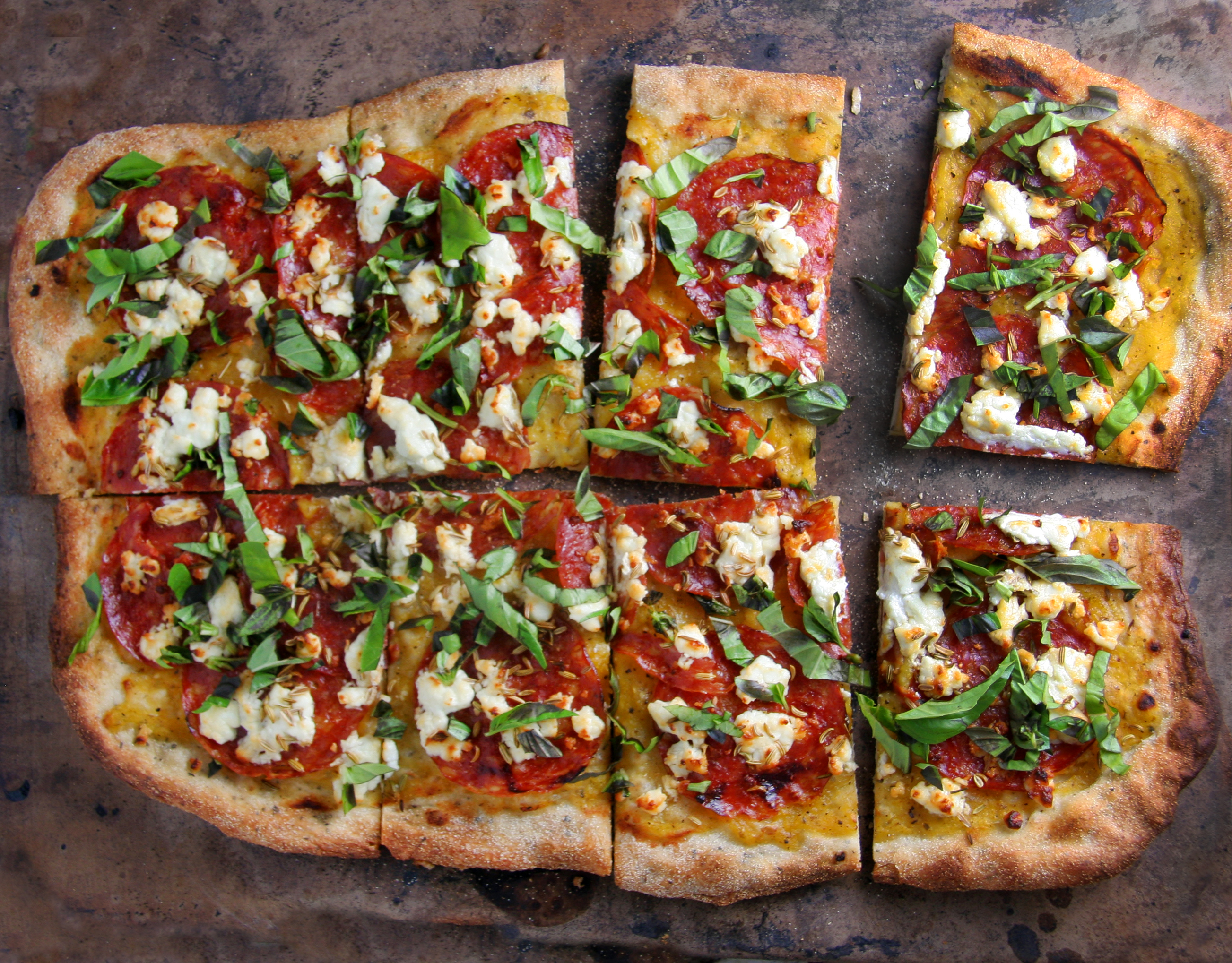 Spicy Salami & Goat Cheese Pizza with Yellow Tomato Sauce, Fennel ...