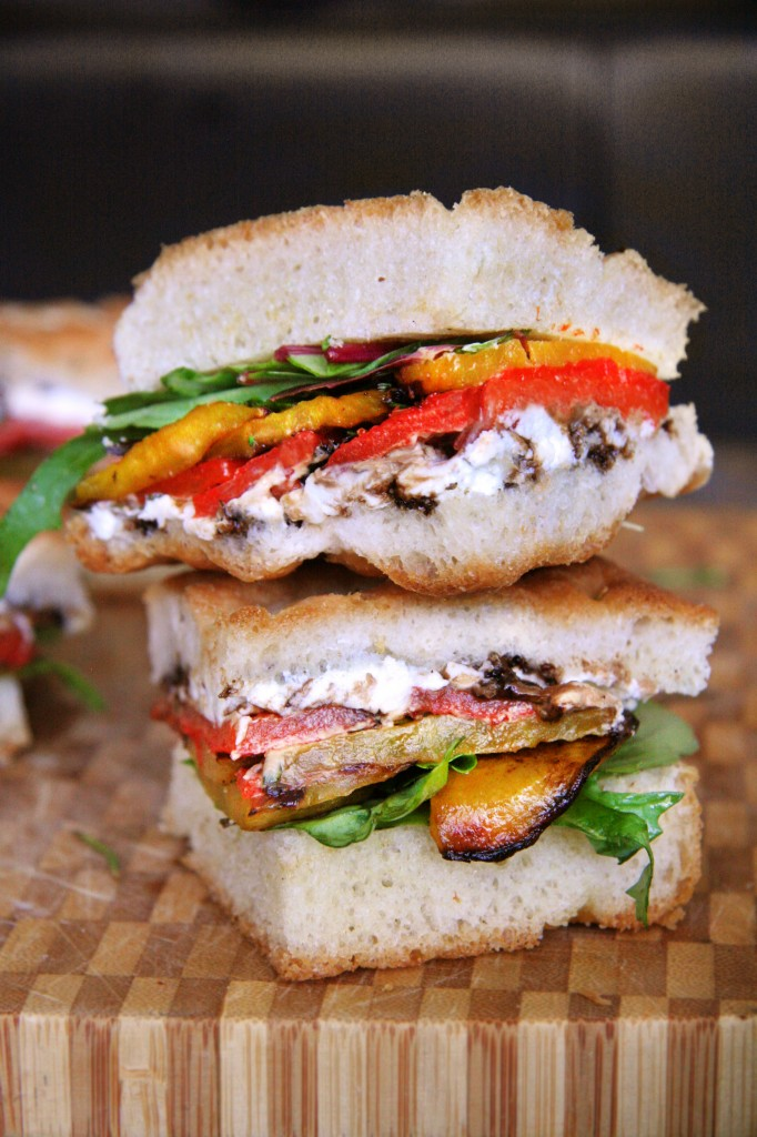 Golden Beet & Roasted Red Pepper Sandwich on Focaccia with Fresh ...