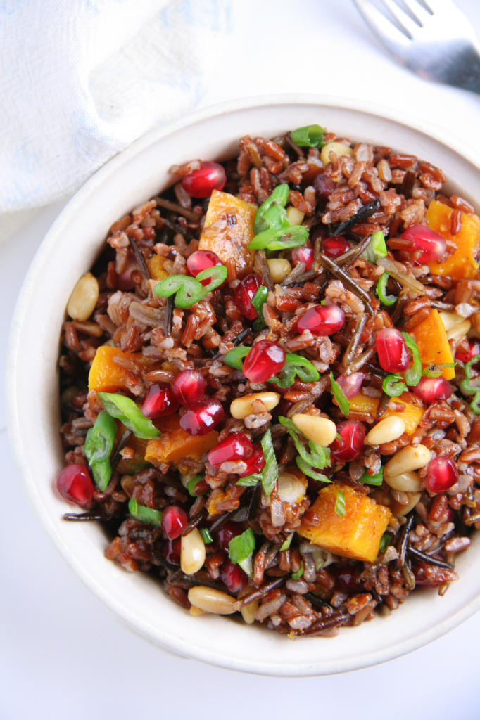 Warm Wild Rice Salad with Pomegranate, Roasted Squash & Pine Nuts
