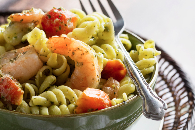Shrimp and Tomato Pasta with a Spinach & Basil Pesto