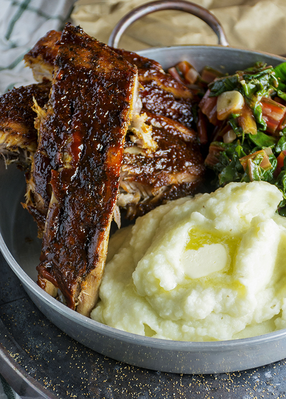 Sweet & Smoky Slow Cooker Ribs with Featherlight Wasabi Mash & Wilted...