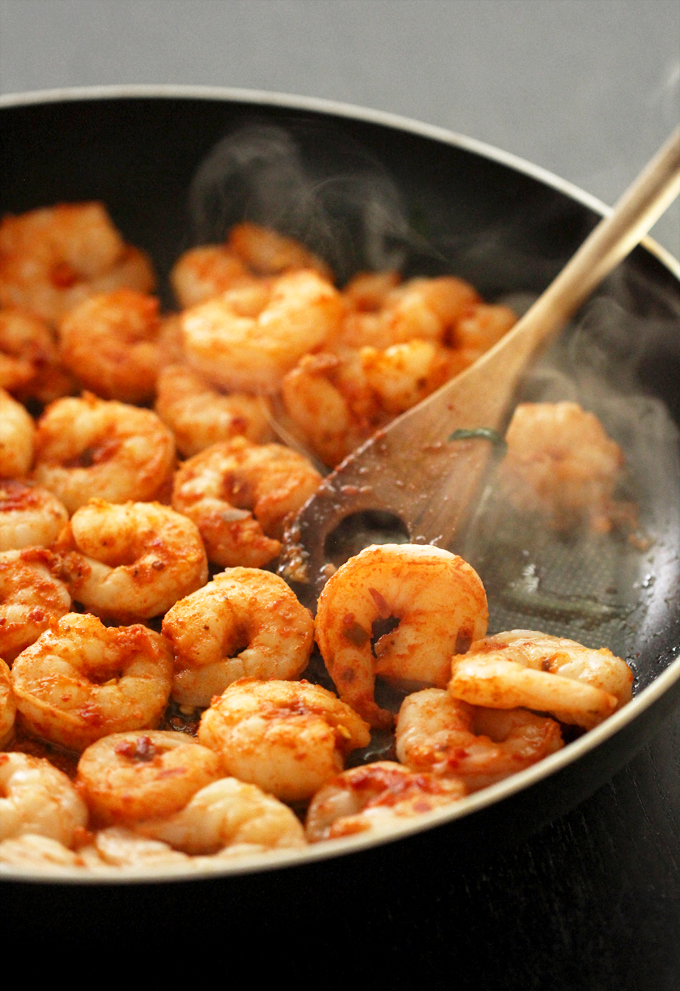 Chili Garlic Prawns on Sauteed Spinach and Sesame Couscous