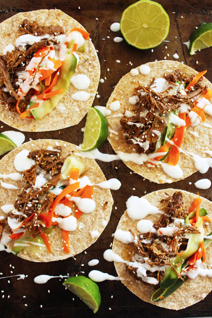 Slow Cooker Shredded Sesame Beef Tacos with Pickled Veggies and Lime ...